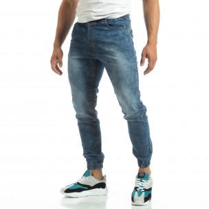 Blugi subțiri albaștri tip Jogger pentru bărbați