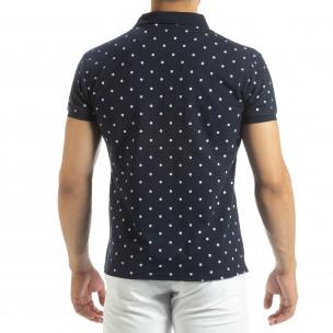Polo shirt bleumarin de bărbați motiv Clover  2