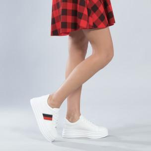 Pantofi sport albi cu decor pentru dama