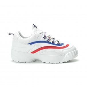 Pantofi sport albi de dama cu decor albastru și roșu 2