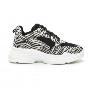Pantofi sport de dama Chunky motiv zebră Moom