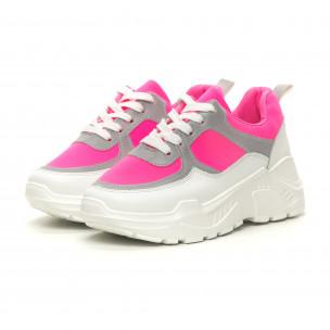Pantofi sport de dama Chunky roz neon Diamantique 2