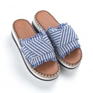 Papuci cu dungi albastre și albe de dama   2