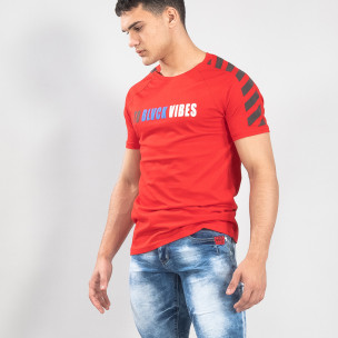 Tricou de bărbați roșu cu dungi gri