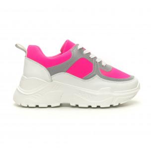 Pantofi sport de dama Chunky roz neon Diamantique