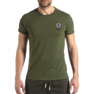 Tricou de bărbați verde cu logo și bandă