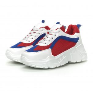 Pantofi sport de dama în alb, roșu și albastru 2