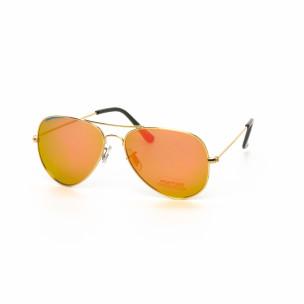 Ochelari de soare Aviator cu lențile roz-auriu tip oglindă