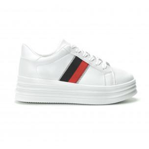 Pantofi sport albi cu decor pentru dama 2