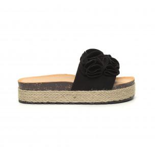 Papuci de dama negri talpă căptuşită cu iută