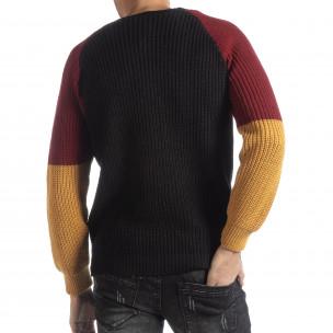 Pulover pentru bărbați în negru, galben și roșu 2