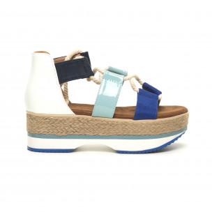 Papuci de dama design marin pe albastru și alb