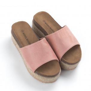 Papuci de dama roz ortopedici cu platformă  2
