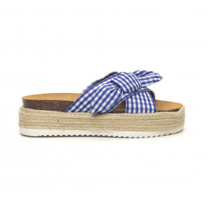 Papuci de dama în carouri albastre cu platformă