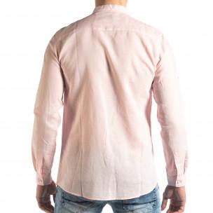 Cămașă de bărbați din in și bumbac în roz  2