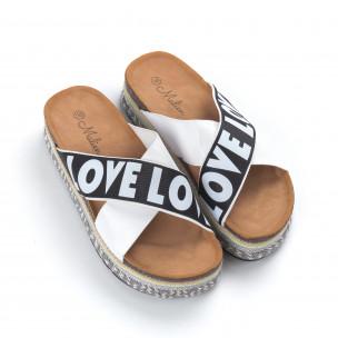 Papuci de dama albi cu platformă LOVE  2