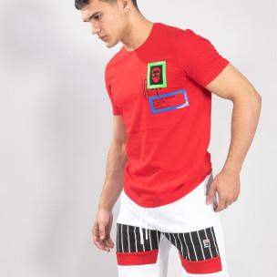 Tricou roșu pentru bărbați cu aplicații din cauciuc