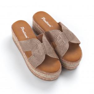 Papuci de dama aurii împletite cu platformă 2