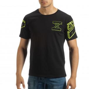 Tricou negru de bărbați cu imprimeu neon pe spate