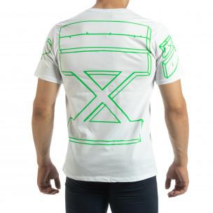 Tricou alb de bărbați cu imprimeu verde pe spate  2