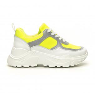 Pantofi sport de dama Chunky verde neon Diamantique