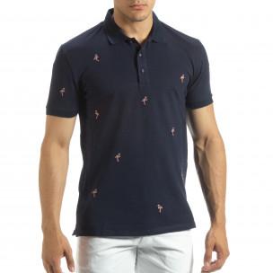 Polo shirt bleumarin de bărbați motiv Flamingo