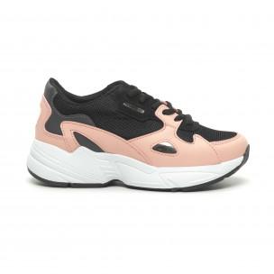 Pantofi sport de dama roșu și roz cu talpă groasă