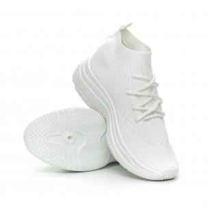 Pantofi sport de dama albi Chunky tip șosetă 2