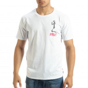 Tricou de bărbați alb Pray Trust