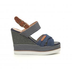 Sandale de dama denim albastru cu platformă înaltă