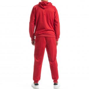 Set sportiv pentru bărbați roșu cu benzi albe 2