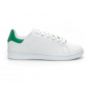 Teniși de dama albi Basic cu călcâi verde