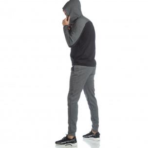 Set sportiv pentru bărbați în gri și negru cu glugă