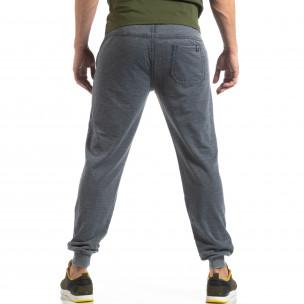 Pantaloni de trening albaștri cu efect șifonat de bărbați  2