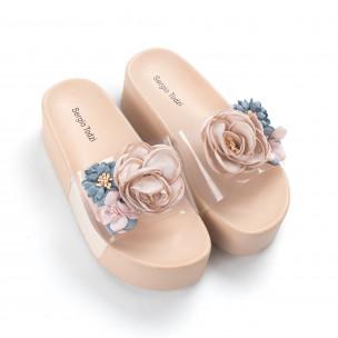 Papuci de dama bej cu baretă transparentă 2
