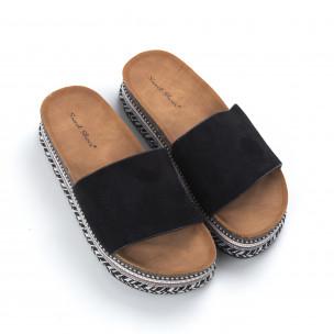Papuci de dama negri cu platformă decorată 2