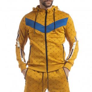 Hanorac pentru bărbați galben cu accente