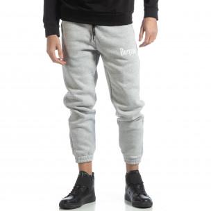 Pantaloni de trening din bumbac în gri deschis British pentru bărbați 2