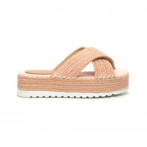 Papuci de dama roz împletiți