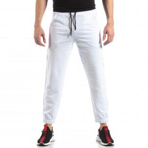 Pantaloni de trening pentru bărbați în alb cu bandă  2
