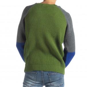Pulover pentru bărbați în verde, gri și albastru 2