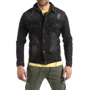 Jachetă din denim elastic negru pentru bărbați  2
