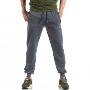 Pantaloni de trening albaștri cu efect șifonat de bărbați