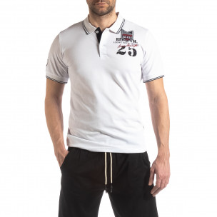 Tricou alb de bărbați polo shirt Royal cup