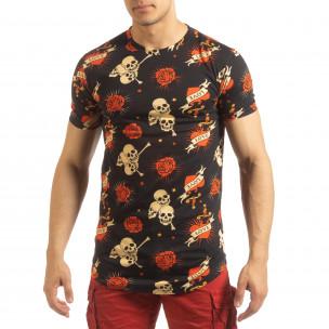 Tricou pentru bărbați negru Skull Love