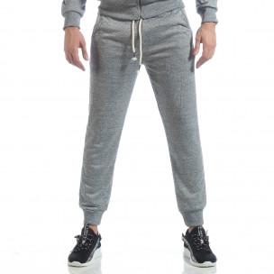 Pantaloni sport în melanj gri de bărbați