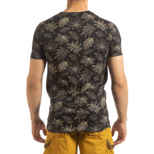 Tricou pentru bărbați negru motiv Leaves  2