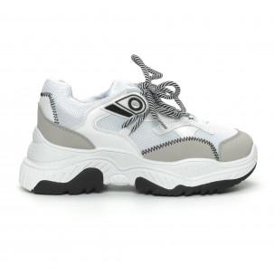 Pantofi sport de dama în alb și gri