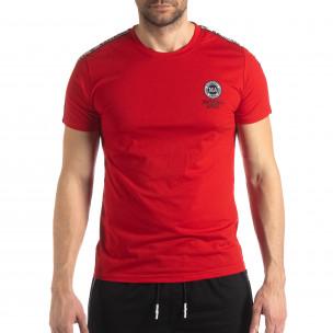 Tricou de bărbați roșu cu logo și bandă  2