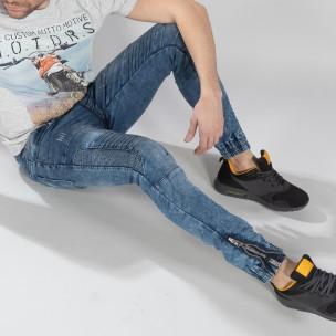 Jogger Jeans albastru pentru bărbați stil Rocker  2